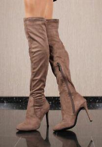 Sexy Damen High Heel Velours Overknee-Stiefel Taupe #SF-080