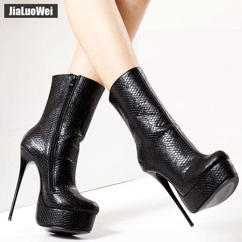 jialuowei 16CM High Heel Thin Heels Sexy Platform Serpentine Print Ankle Boots