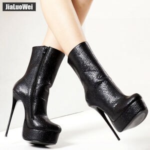 Image is loading Womoe16CM-Extreme-High-Heel-Sexy-Platform-Zipper-Pointed- 0d2fdbfb7c60