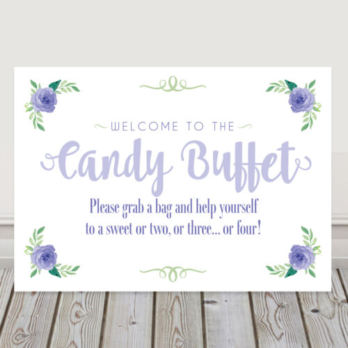 L8 Lilac and Green Candy Buffet Sweet Table Sign for Weddings BUY 2 GET 1 FREE