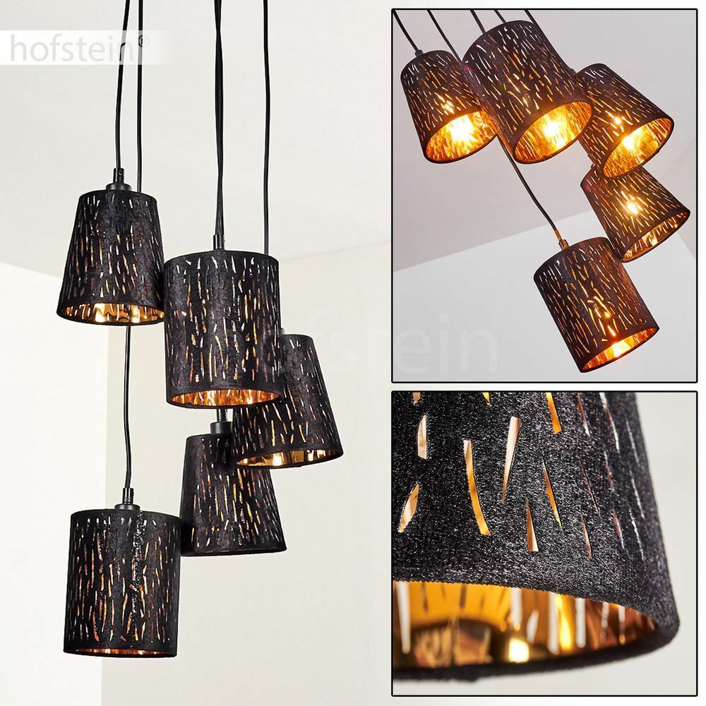 Lampe à suspension Plafonnier Lustre Lampe Lampe de séjour Lampe Lampe pendante noire/dorée a7f9bc