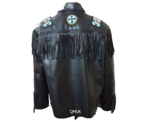 Qmuk western Moto Veste Noire perles /& Bone en cuir à franges Eagle style