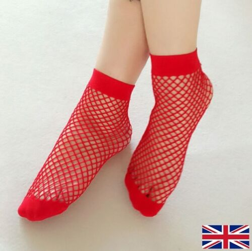 Women/'s Fishnet Ankle Socks High Quality Elastic Red Polyester UK Free P/&P