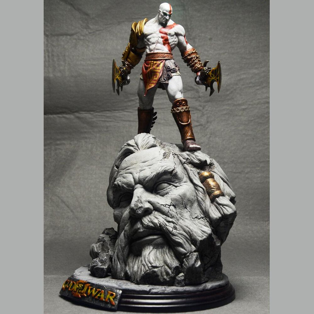 Gott des krieges 3 kratos auf zeus kopf harz bild statue fans sammeln 26cm