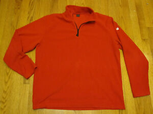 c1f8742d6 Details about APPLE logo FLEECE PULLOVER JACKET LG Red Macintosh iPod Half  Zip Large Employee
