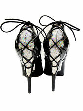 MADE IN ITALY GLITTER HEELS CORSET PUMPS SCHUHE DECOLTE LEATHER BLACK NERO 46