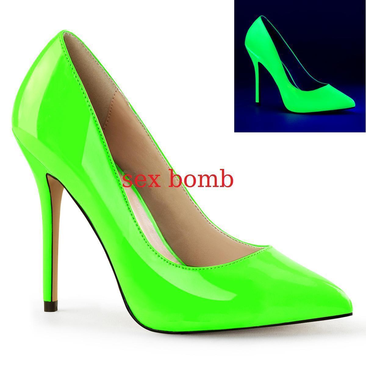 Sexig dekolte'Neon grön Heel 13 plattform dold från 35 till 44 mode Glamour