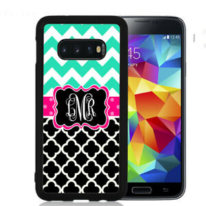 Monogram-Case-Fits-Samsung-Galaxy-S10-S9-S8-S7-Teal-Pink-Chevron-Quarterfoil