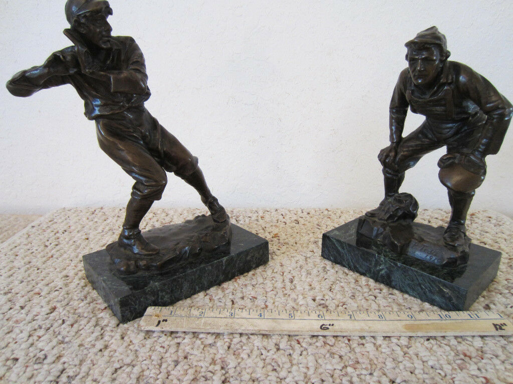 PR. OF 1910  BRONZE BASEBALL FIGURES SIGNED  P. TESTI