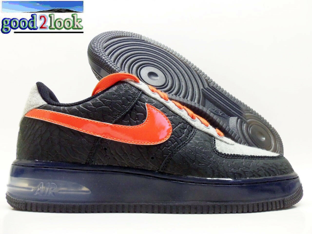 NIKE AIR FORCE 1 SUPREME MAX AIR NPCE QS BLACK/ORANGE MEN'S 10.5 [625907-001]