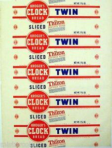 Vintage Bread Wrapper Krogers Clock Twin Columbus Ohio Detroit