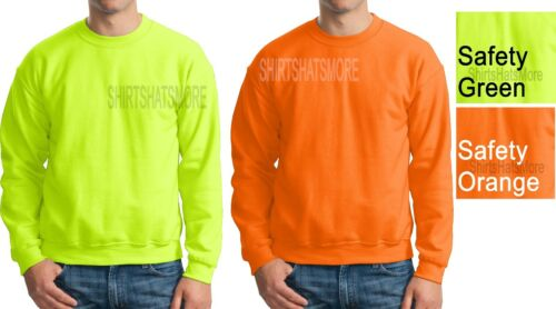 Gildan Mens Crewneck Sweatshirt ANSI High VIS Safety Green Orange S-2X 3X 4X 5X