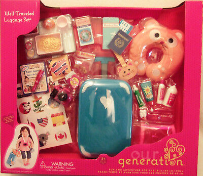 Our Generation Well Traveled Luggage Set Accessories for 18 in doll NEW in Box
