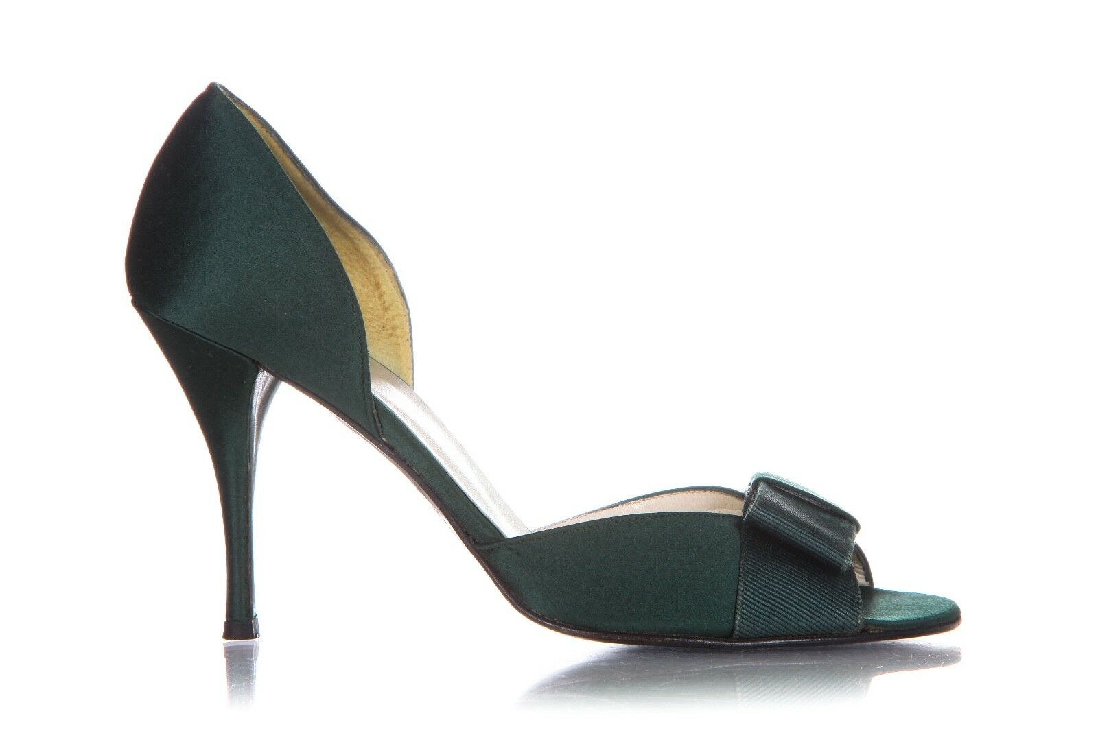 STUART WEITZMAN Heels 8.5 vert Satin Pumps Bow Peep Open Toe Sandals