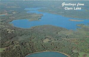 SIREN-WI-1965-Aerial-View-of-Beautiful-Clam-Lake-VINTAGE-WISCONSIN-LAKE-GEM-543