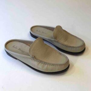 L-L-Bean-Womens-Mules-Beige-Leather-Moc-Toe-Slip-On-Flat-Slide-Shoes-6-M-EU-37