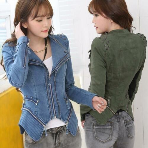 En Fit Blousons Slim Blazer Denim 6xl Punk Femme S xR01gqPX