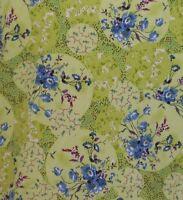 Nurse Scrub Salus Medium Green Blue Flowers V-neck Pullover Tie With Tags