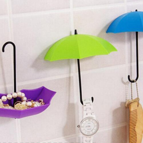 3Pcs Colorful Umbrella Wall Hook Key Hair Pin Holder Organizer Storage FM