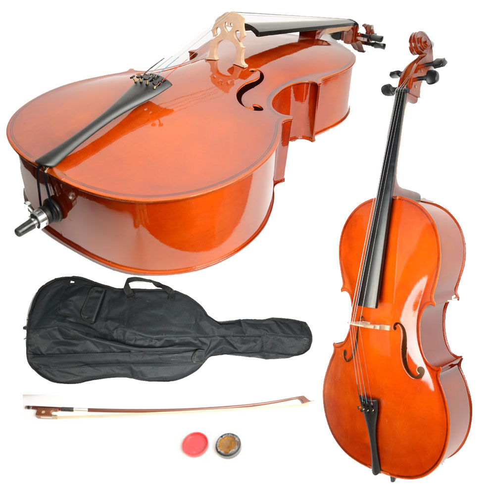 New 4 4 Size Handcrafted Retro Basswood Cello +Bag+ Bow+ Rosin + Bridge