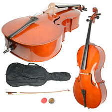 New 4/4 Size Handcrafted Retro Basswood Cello +Bag+ Bow+ Rosin + Bridge