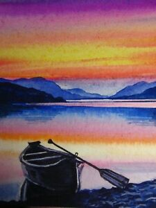 Watercolor-Painting-Colorful-Sunset-Lake-Boat-Nature-ACEO-Art