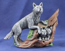 Grey Wolf with Two Wolf Pups Painted Ceramic Figurine