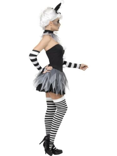 Sinister Pierrot Costume Evil Clown Halloween Womens Ladies Fancy Dress Outfit