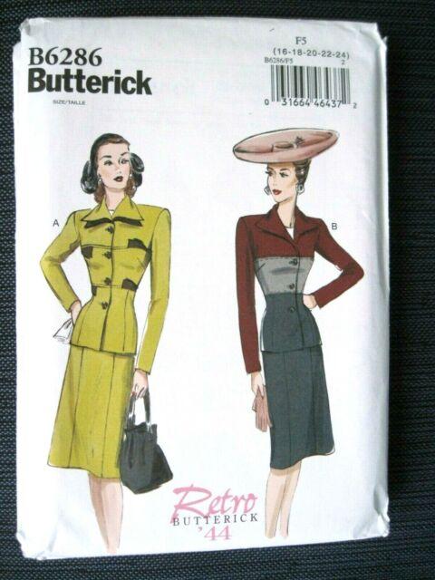 NEW BUTTERICK SEWING PATTERN B6286 MISSES 1944 SKIRT /& JACKET SIZES 16-24 UNCUT