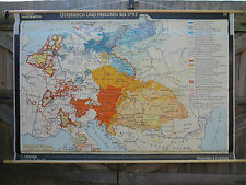 VINTAGE PULL DOWN SCHOOL HISTORICAL MAP OF AUSTRIA & PRUSSIA IN 1795 PARTITION