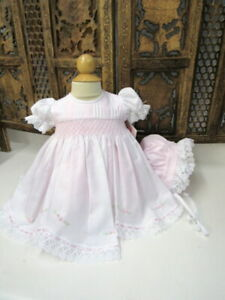 NWT-Will-039-beth-Pink-Smocked-3pc-Lace-amp-Pearls-Dress-Newborn-Baby-Girls-Size-0