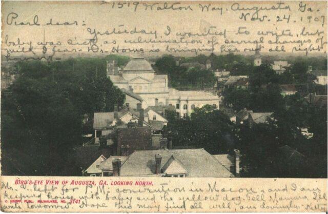 Augusta, Georgia Bird's Eye View Looking North Vintage Postcard PC GA 1907
