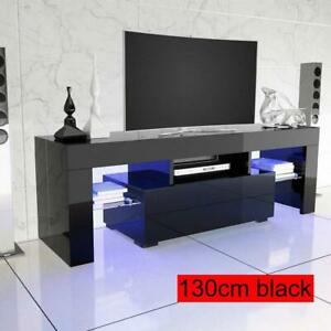 TV-Unit-Cabinet-Stand-Shelf-Table-Free-LED-Storage-Drawer-130-45-35cm-Black