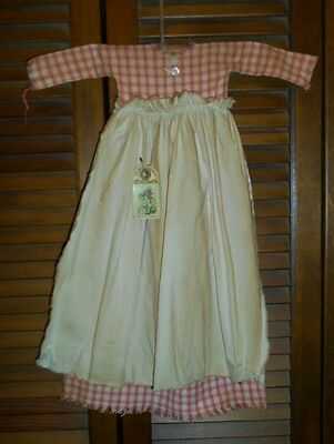Primitive Wall Cupboard Decor Dress PINK CHECK W/ APRON Folk Art Country Grungy