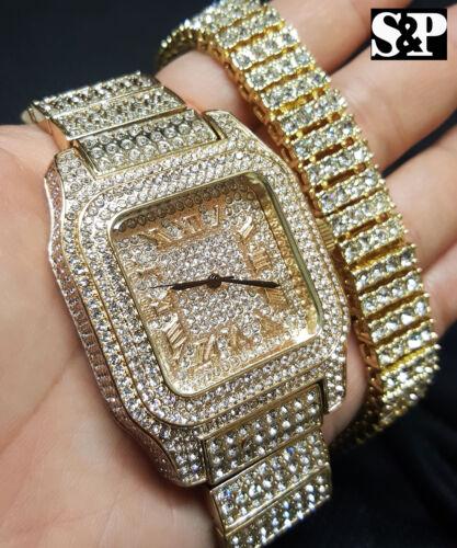 Men/'s Hip Hop Glacé Bling Simulé Diamant Montre De Luxe /& Bracelet Ensemble Cadeau