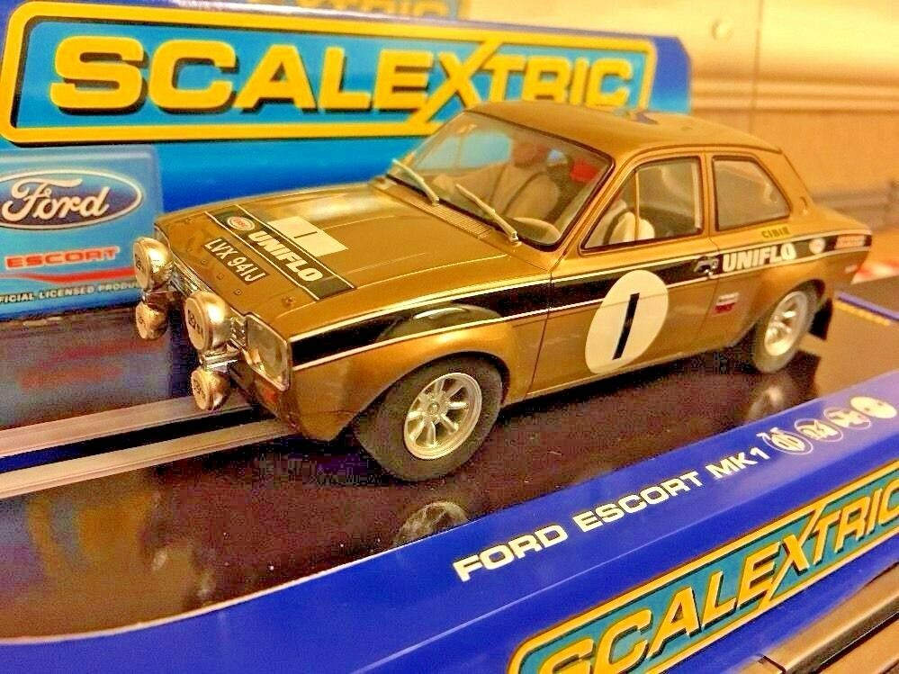 Scalextric Ford Escort MK1 RS 1600 Rally Coche uniflo No1 coche menta y sin usar