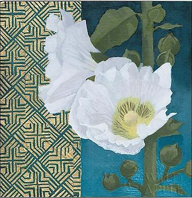 Kathrine Lovell: Soft Evening III Keilrahmen-Bild Leinwand Blumen weiss blau