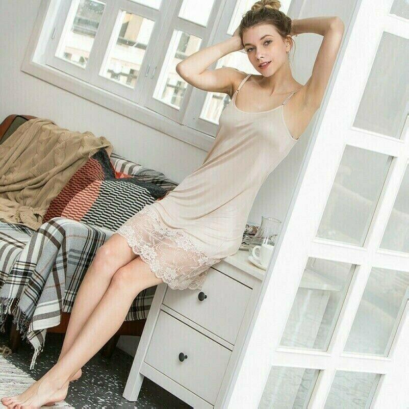 Seide Damen Spitzen-Petticoat Kleid Rutscht Nachthemd Riemen Hemd Unterrock NR9