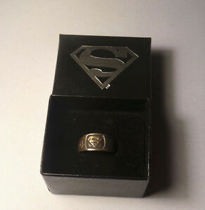 Superman-Logo-Ring-Solid-Sterling-Silver-DC-Direct-1998-NEW-In-Original-Box