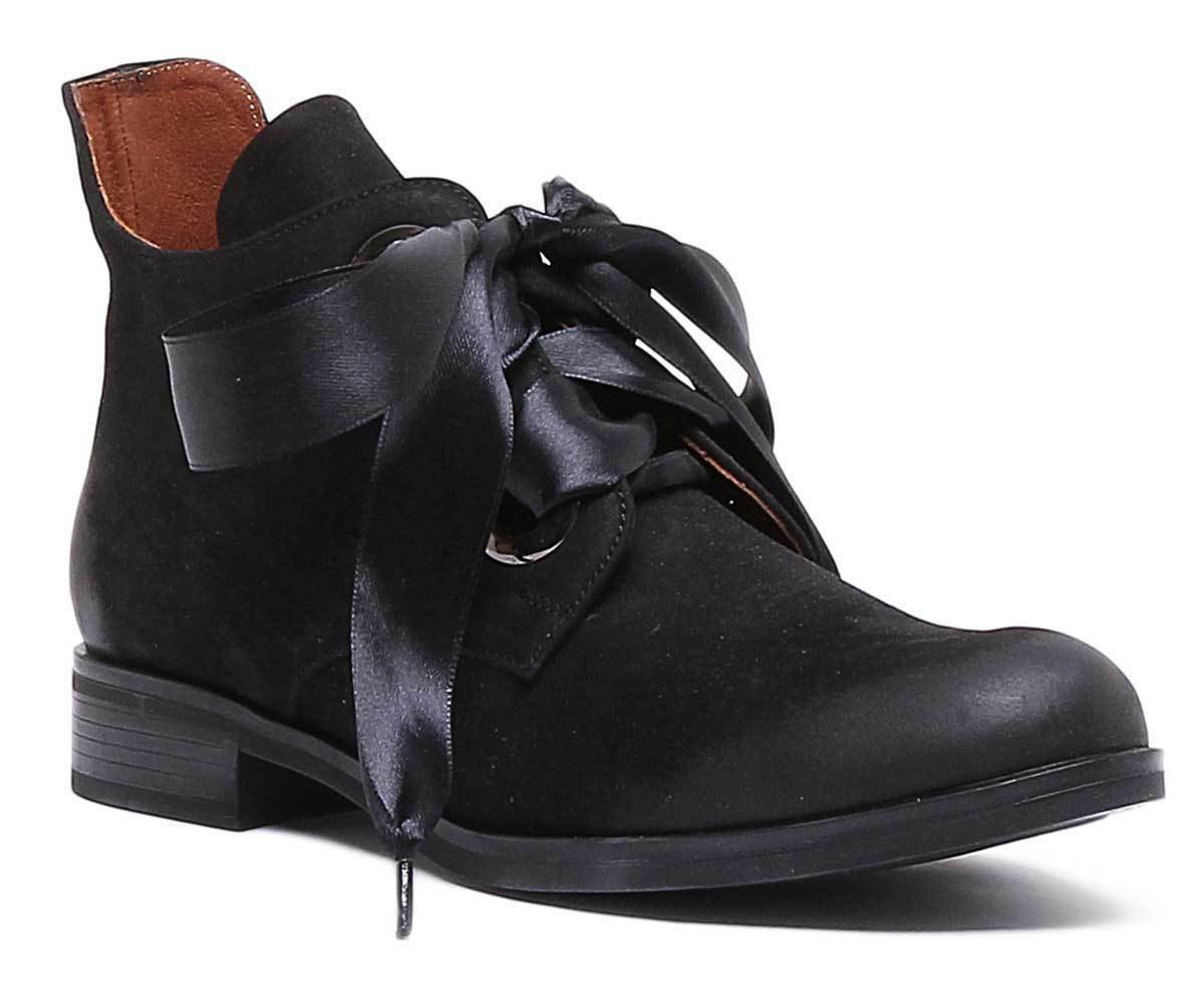 Justin Reece 6350 Women Leather Black Ankle Boots