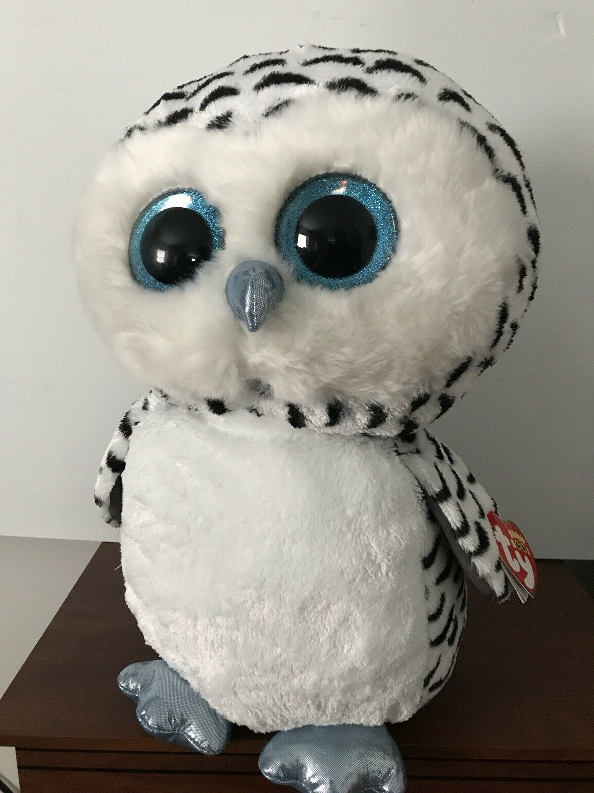 TY BEANIE BOOS - LUCY the 16  SNOW OWL - MINT with TAG - JUSTICE EXCLUSIVE