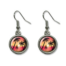 Beach Sunset - Palm Trees Ocean Sail Boat Vacation - Dangling Drop Earrings