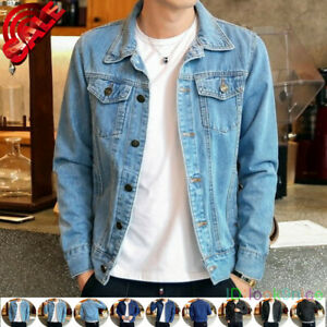 Hot Men/'s Denim Jackets Fashion Jean Jacket Outwear Patch Cowboy Coat Slim short