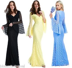 Goddess Long Lace Bell Sleeve Maxi Evening Fishtail Formal Dress