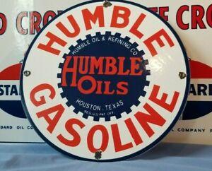 VINTAGE HUMBLE GASOLINE PORCELAIN GAS SERVICE STATION PUMP PLATE AD SIGN