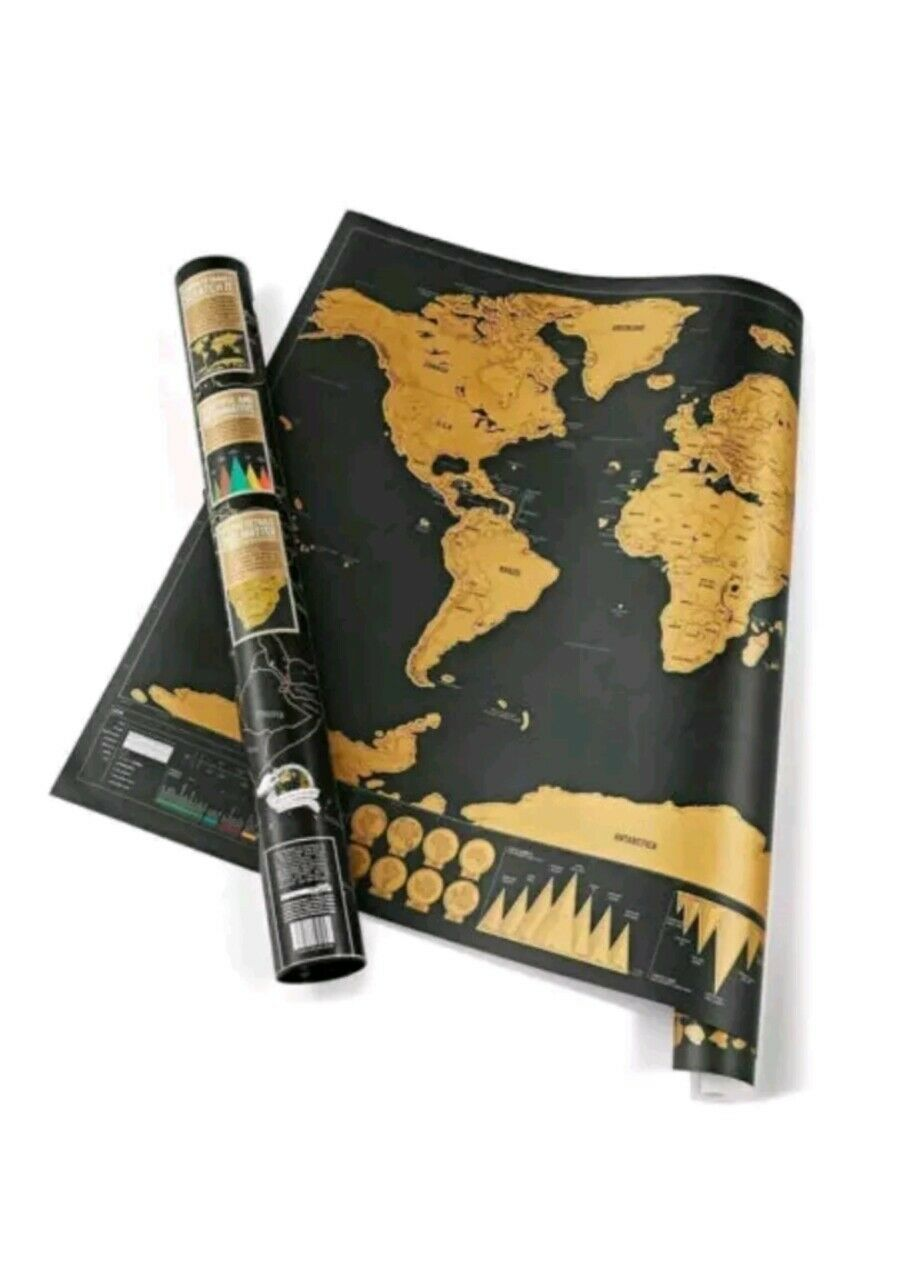 Scratch Off World Map Poster Interactive Travel Atlas Decor Large Deluxe Gift AU 4