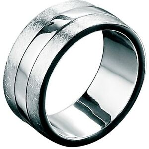 Fred Bennett 925 Silver Scratched & Polished Men's Contemporary Wide Band Ring