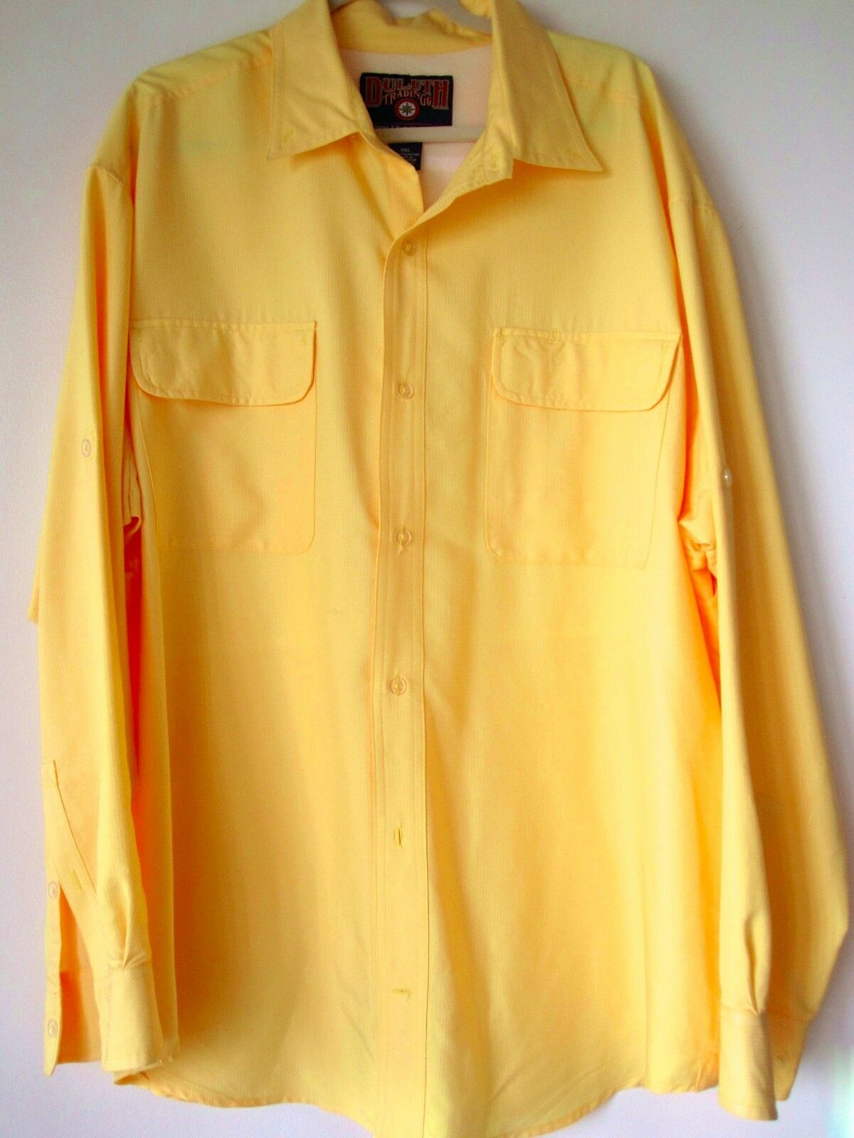 Duluth Shirt 2XL Yellow Work Shirt Long Sleeve Buttons Down XXL Polyester Mens
