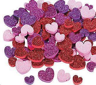 "30 Glitter Heart Valentine Foam Beads Kids Craft 1/2"" -  1"" Pink Purple Red"