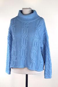check out 0576e f76da Details zu WOW OUI Damen Strick Pullover blau reine Baumwolle Grobstrick  Größe 36 NEU A200